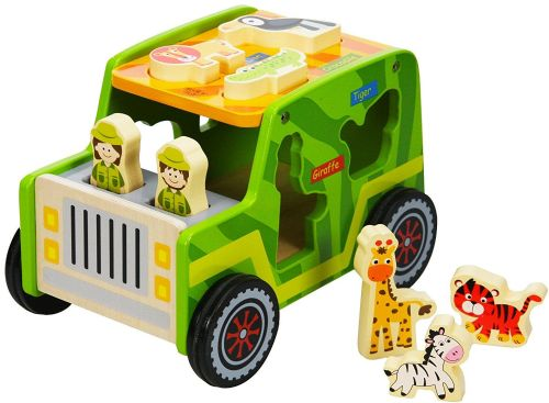 Kids Children Wooden Safari Jeep Animals Toy with Child Safe Paints
